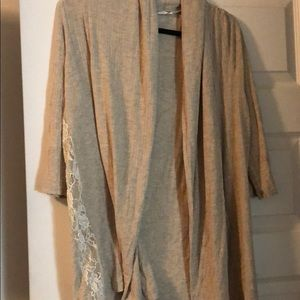Tan cardigan loose sweater with lace
